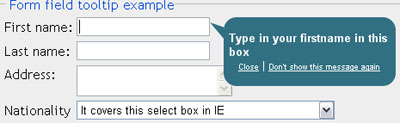 Tooltip for forms