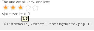 jQuery Ajax Rater Plugin