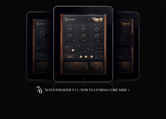 iOS app website design: 76 Synthesizer