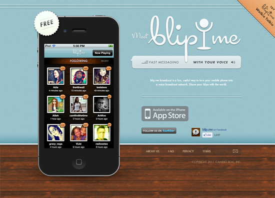 iOS app website design: blip.me