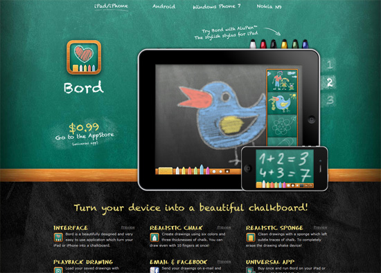 iOS app website design: Bord