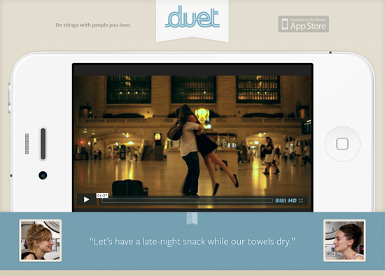 iOS app website design: Duet