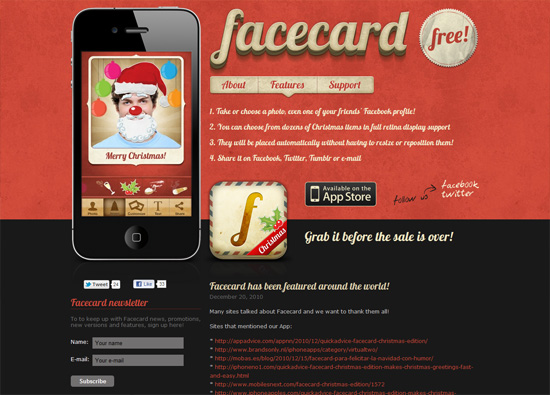 iOS app website design: Facecard iPhone App