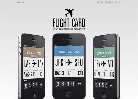 iOS app website design: Flight Card