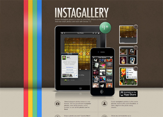 iOS app website design: Instagallery