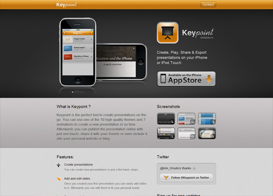 iOS app website design: Keypoint