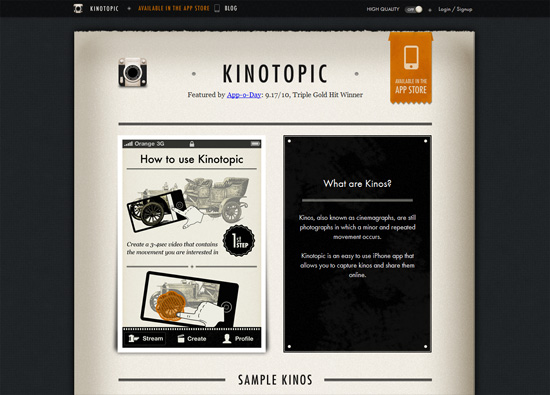 iOS app website design: Kinotopic