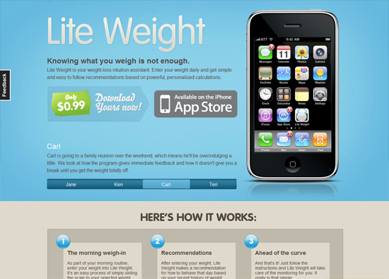iOS app website design: Lite Weight iPhone App