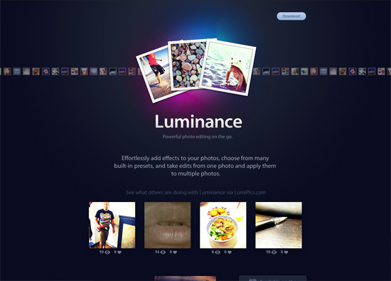 iOS app website design: Luminance