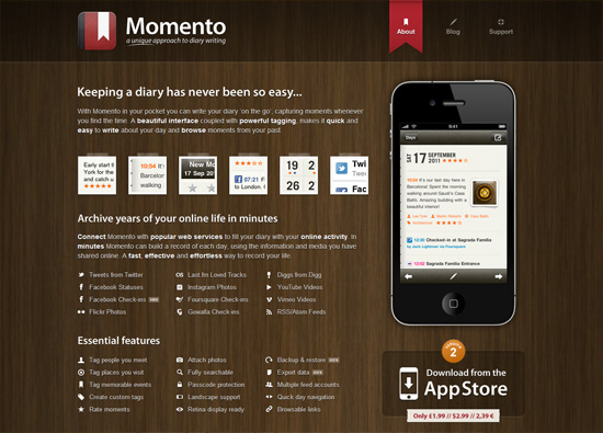 iOS app website design: Momento