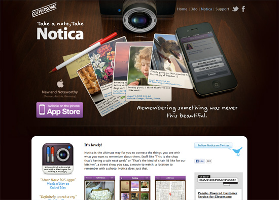 iOS app website design: Notica
