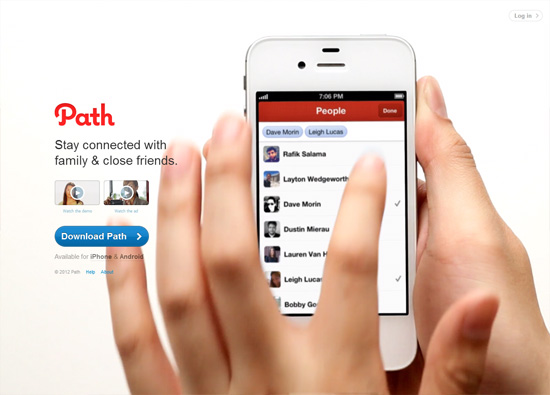iOS app website design: Path