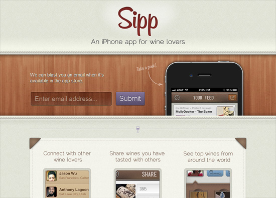 iOS app website design: Sipp