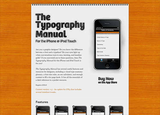 iOS app website design: The Typography Manual